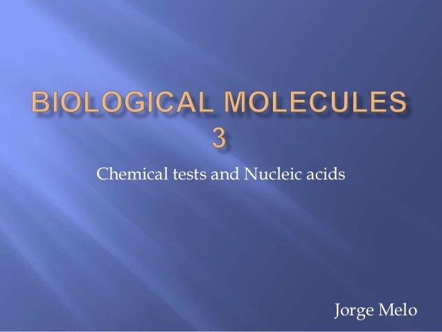 Chemical tests and Nucleic acids                              Jorge Melo
