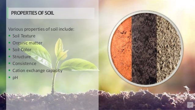 15 Various properties of soil include:  Soil Texture  Organic matter  Soil Color  Structure  Consistence  Cation exc...