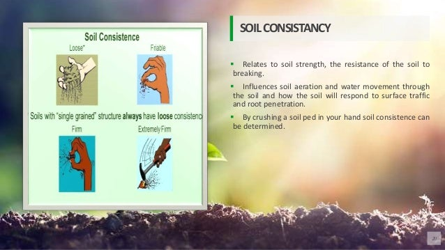  Relates to soil strength, the resistance of the soil to breaking.  Influences soil aeration and water movement through ...