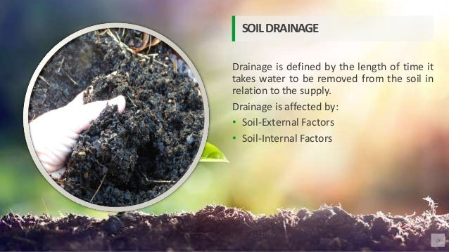 Drainage is defined by the length of time it takes water to be removed from the soil in relation to the supply. Drainage i...