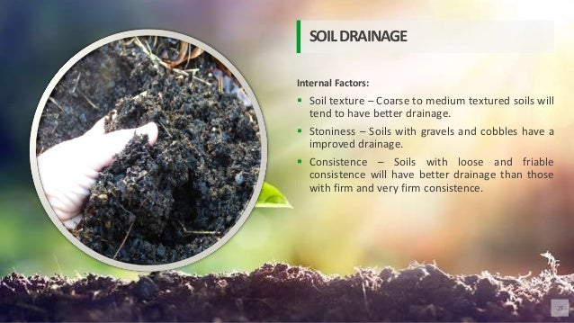 Internal Factors:  Soil texture – Coarse to medium textured soils will tend to have better drainage.  Stoniness – Soils ...