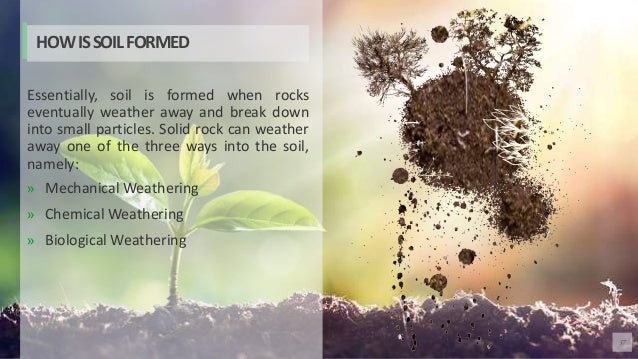 37 Essentially, soil is formed when rocks eventually weather away and break down into small particles. Solid rock can weat...