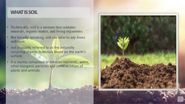 4  Technically, soil is a mixture that contains minerals, organic matter, and living organisms.  But broadly speaking, s...