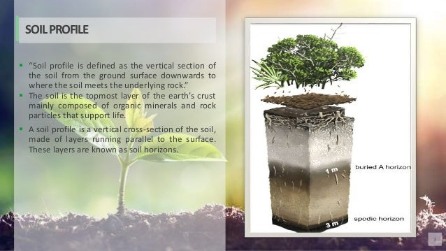 """5  """"Soil profile is defined as the vertical section of the soil from the ground surface downwards to where the soil meets..."""