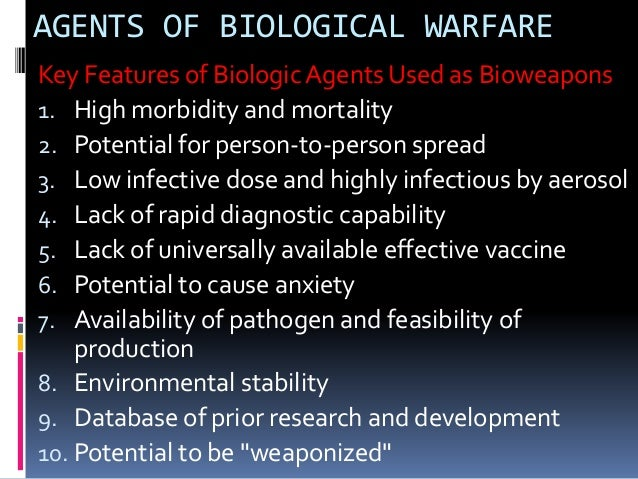 development of biochemical warfare Warfare agents exposure during military service to chemical and biological weapons listed below potentially could cause certain health problems in veterans.