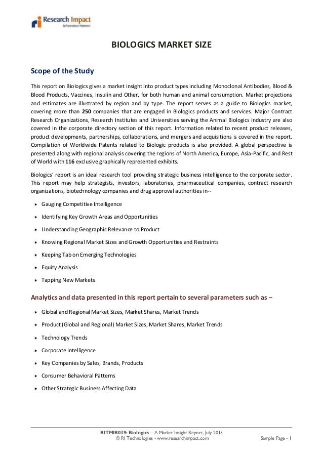 RITMIR039: Biologics – A Market Insight Report, July 2013 © RI Technologies - www.researchimpact.com Sample Page - 1 BIOLO...