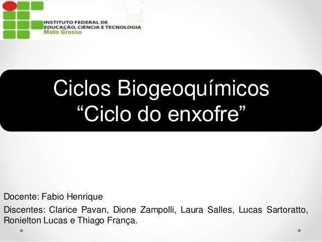 Docente: Fabio Henrique Discentes: Clarice Pavan, Dione Zampolli, Laura Salles, Lucas Sartoratto, Ronielton Lucas e Thiago...
