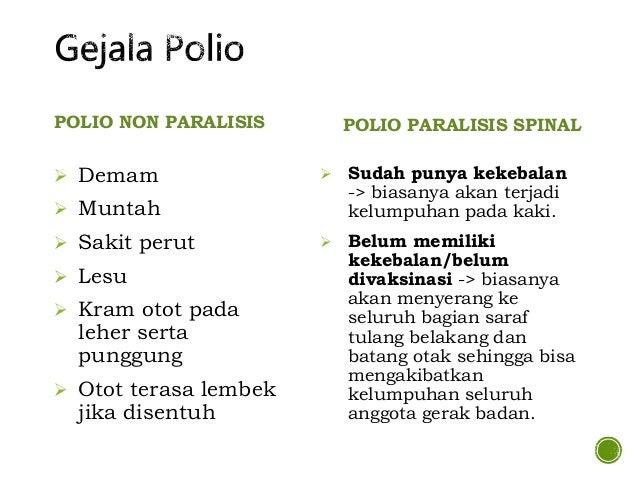 POLIO BULBAR  Polio ini akan menyerang saraf yang berhubungan dengan pergerakan bola mata, muka, pendengaran, proses mene...