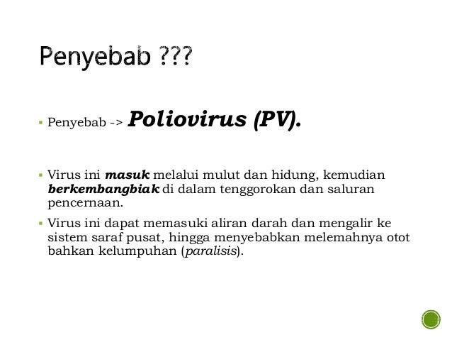  Penyebab -> Poliovirus (PV).  Virus ini masuk melalui mulut dan hidung, kemudian berkembangbiak di dalam tenggorokan da...