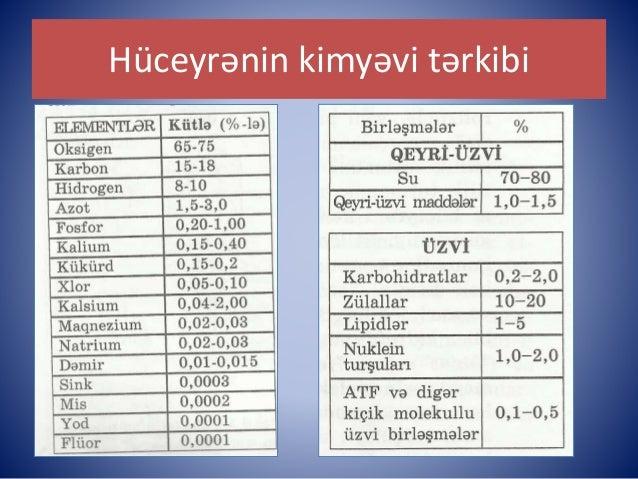 Biologiya 10 (hüceyrənin qeyri üzvi və üzvi tərkibi) Slide 3