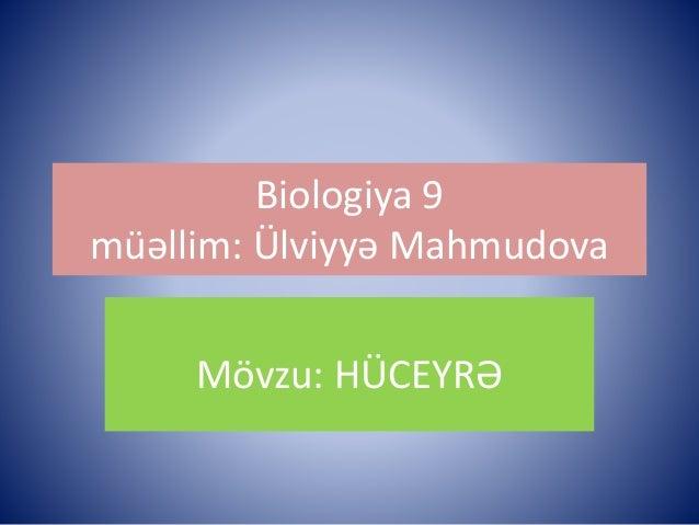 Biologiya 9  müəllim: Ülviyyə Mahmudova  Mövzu: HÜCEYRƏ