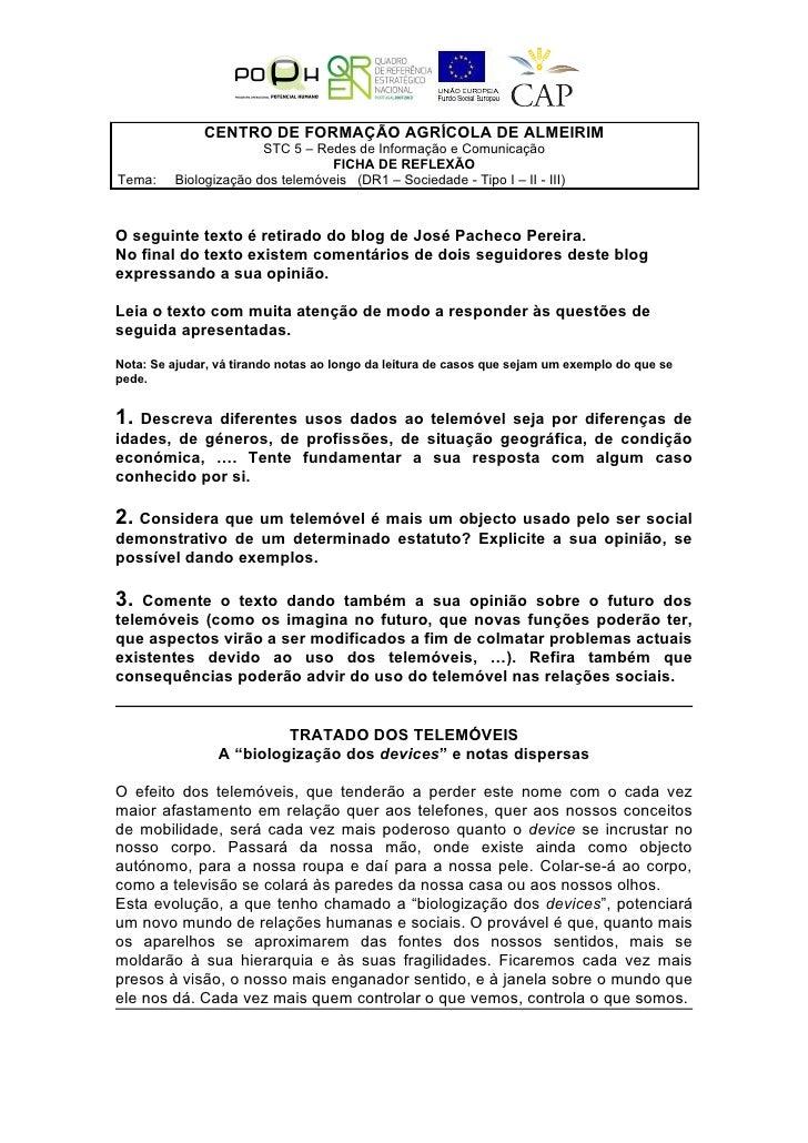 CENTRO DE FORMAÇÃO AGRÍCOLA DE ALMEIRIM                        STC 5 – Redes de Informação e Comunicação                  ...
