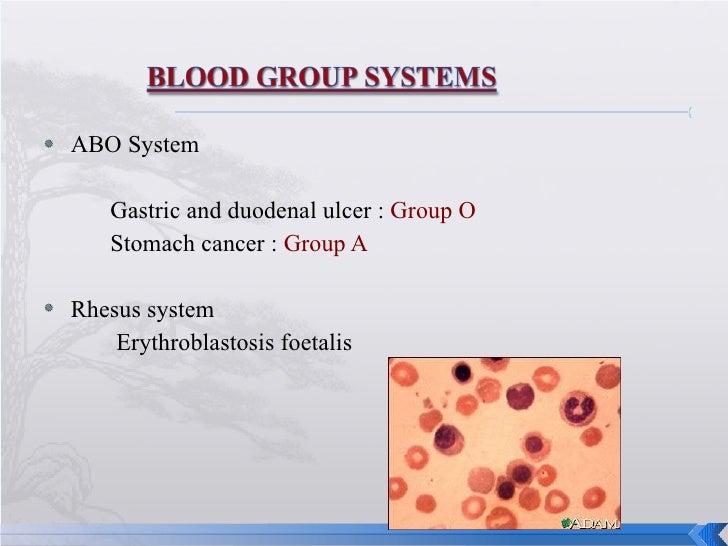 <ul><li>ABO System </li></ul><ul><li>Gastric and duodenal ulcer :  Group O </li></ul><ul><li>Stomach cancer :  Group A </l...