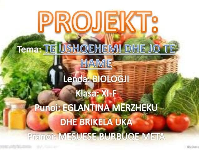 Per te jetuar njeriu ka nevoje per lende ushqyese, te cilat i merr permes ushqimit te perditshem. Lendet ushqyese jane te ...
