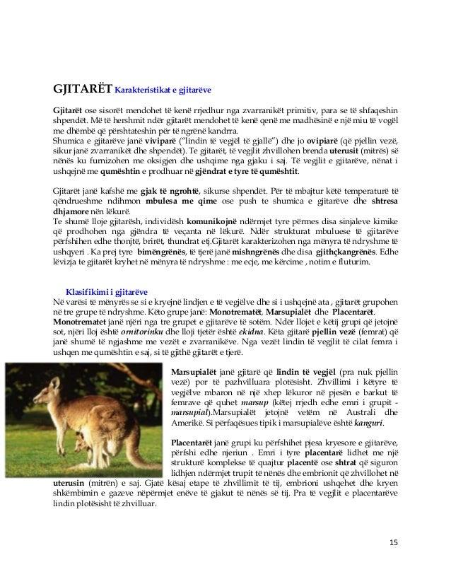 15 GJITARËT Karakteristikat e gjitarëve Gjitarët ose sisorët mendohet të kenë rrjedhur nga zvarranikët primitiv, para se t...