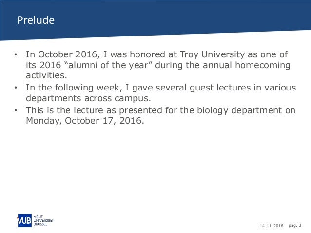 """14-11-2016 pag. 3 Prelude • In October 2016, I was honored at Troy University as one of its 2016 """"alumni of the year"""" duri..."""