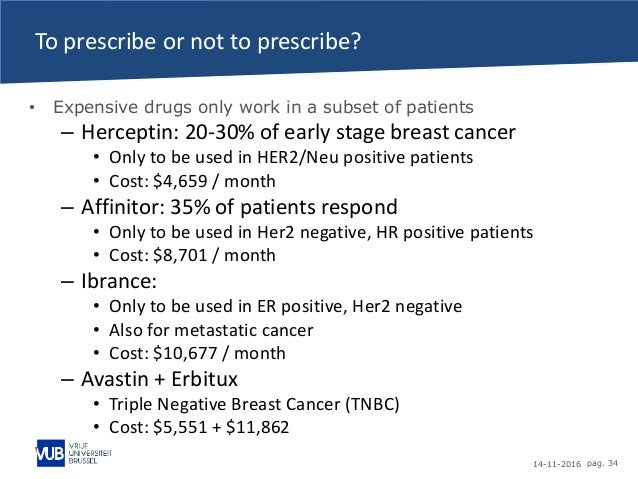 14-11-2016 pag. 34 To prescribe or not to prescribe? • Expensive drugs only work in a subset of patients – Herceptin: 20-3...