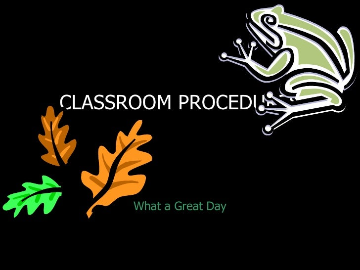 CLASSROOM PROCEDURES           What a Great Day