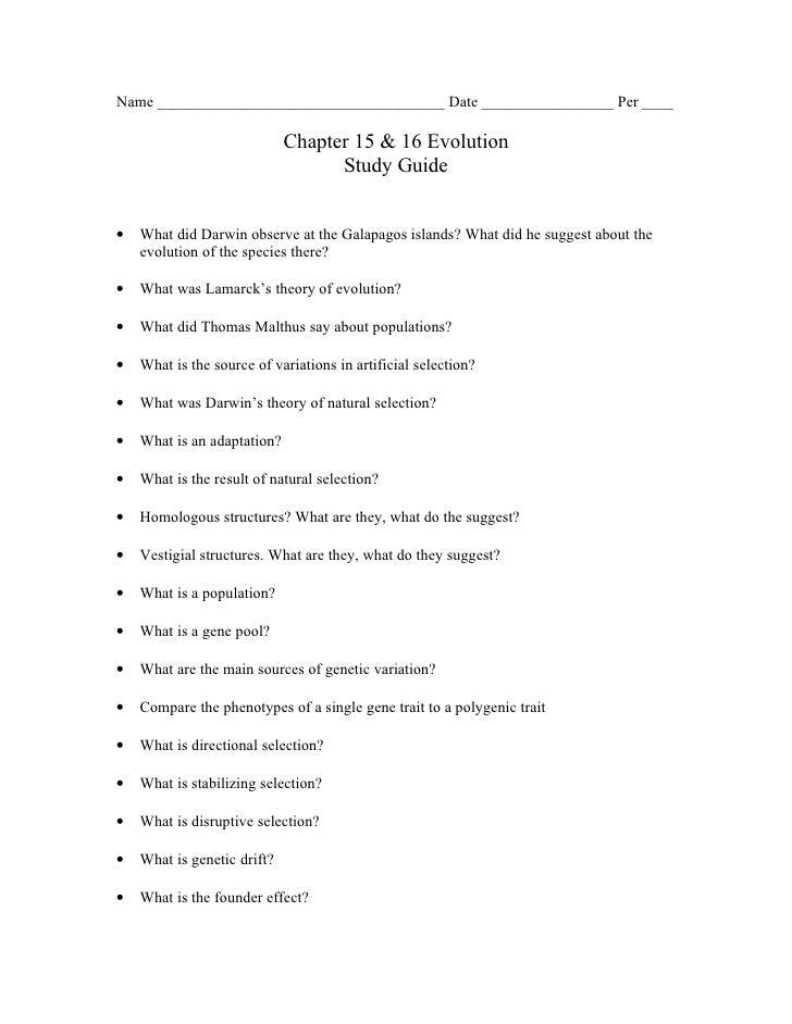biology chp 15 16 evolution study guide rh slideshare net biology evolution test study guide answers chapter 10 biology evolution study guide answers