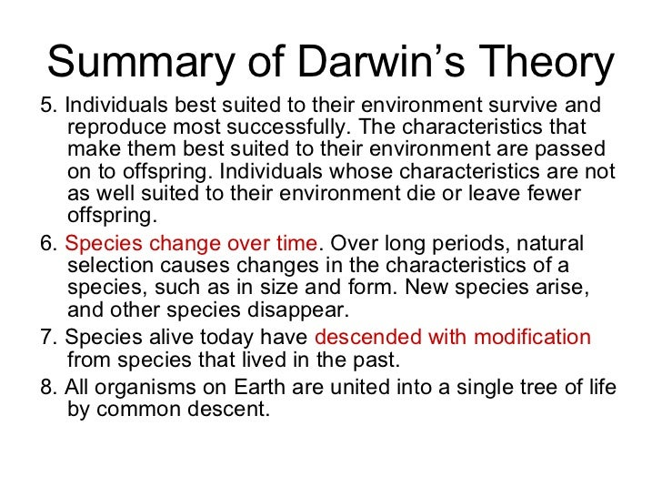 A discussion of explanations of darwins theory of evolution