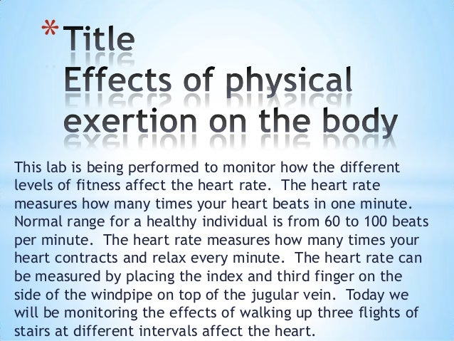 This lab is being performed to monitor how the different levels of fitness affect the heart rate. The heart rate measures ...