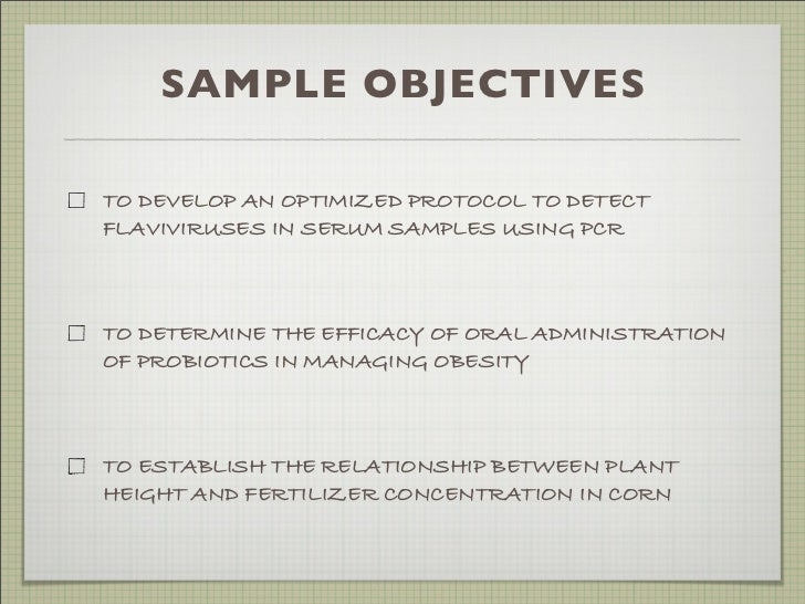samples of objectives