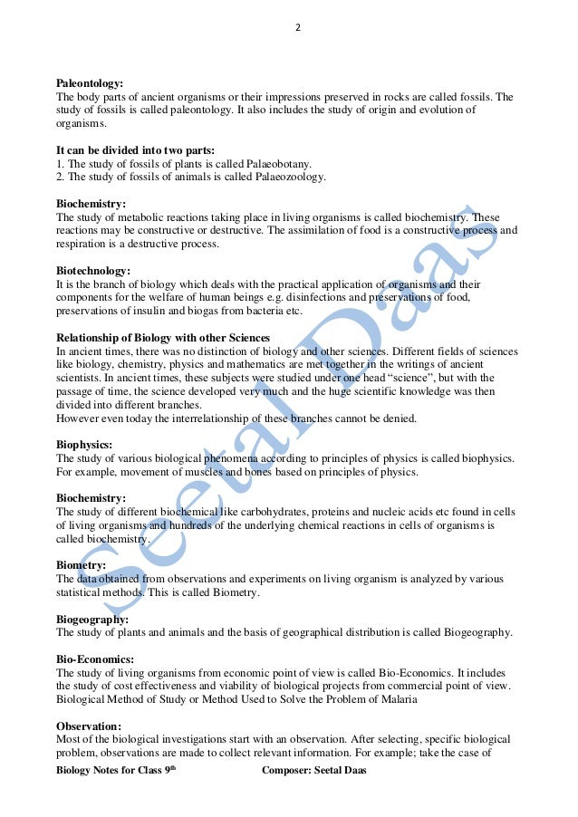 biology notes class 9th Cbse class notes key notes for cbse board students for class 12, 11, 10, 09, 08, 07 and 06 important topics of all subjects are given below these notes will provide you overview of the chapter and important points to remember these are very useful summary notes with neatly explained examples for best revision of.
