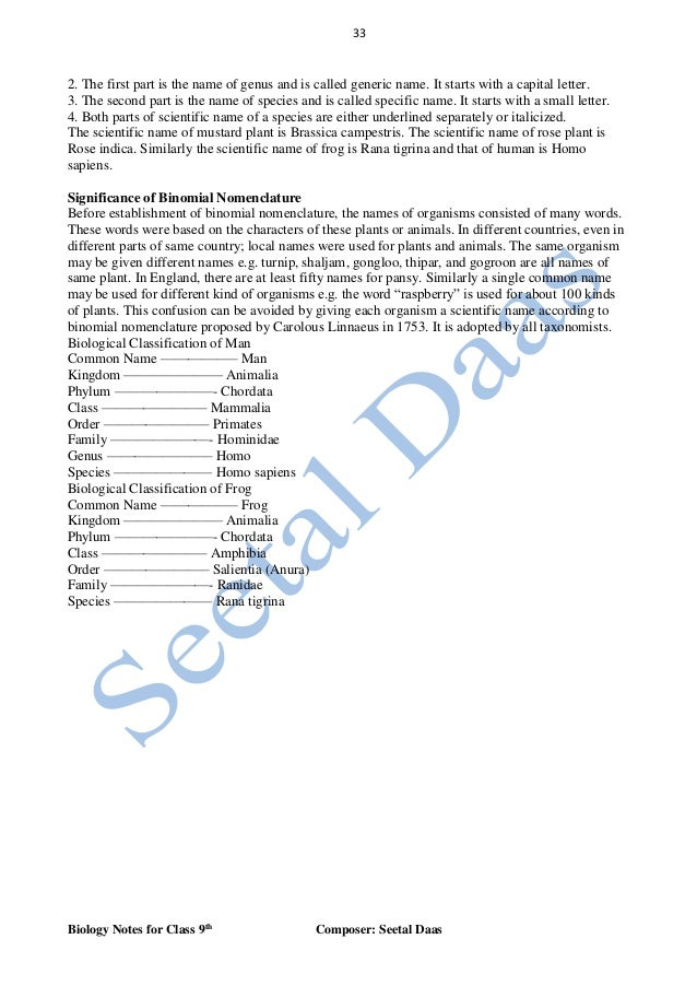 the first letter of every genus name is biology notes for class 9th by seetal daas 10090 | biology notes for class 9th by seetal daas 34 638
