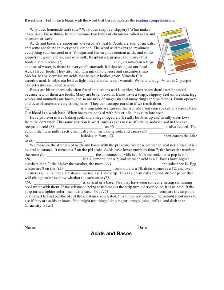 Biology acid base lab reading comp – Solutions Acids and Bases Worksheet