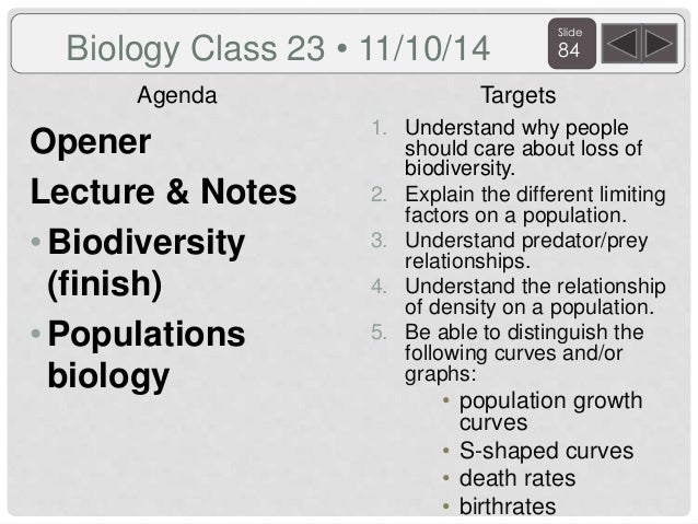 Biology agenda and targets 2014  real 10 21 14