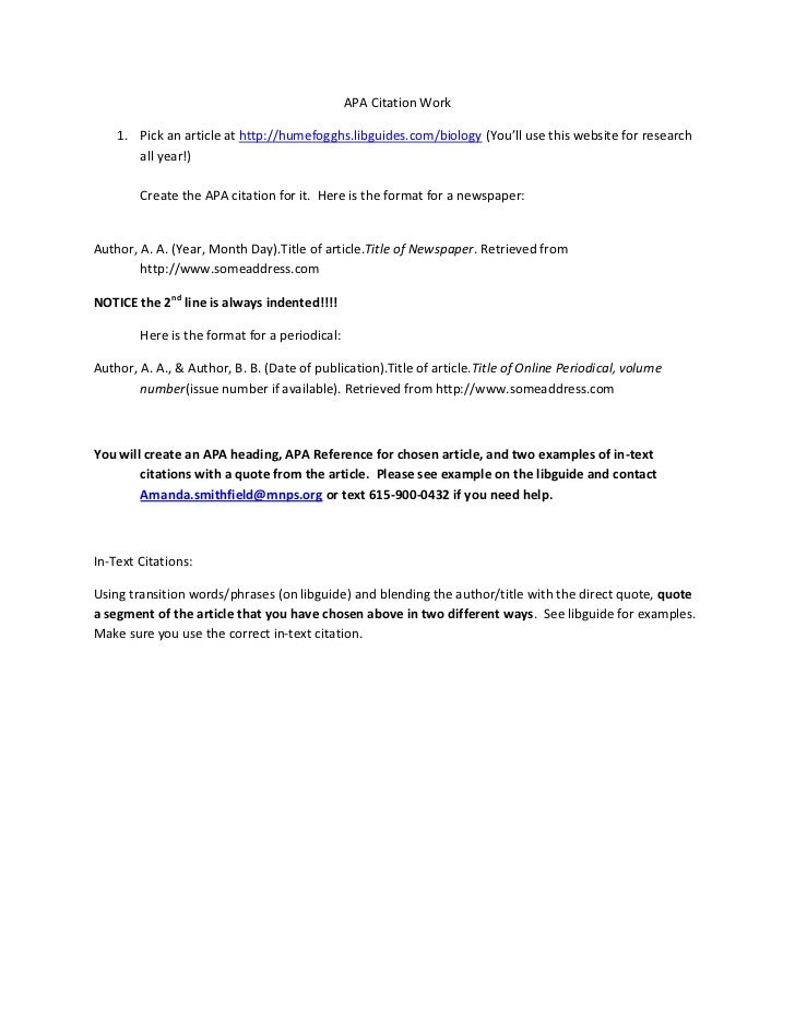 APA Citation Work    1. Pick an article at http://humefogghs.libguides.com/biology (You'll use this website for research  ...