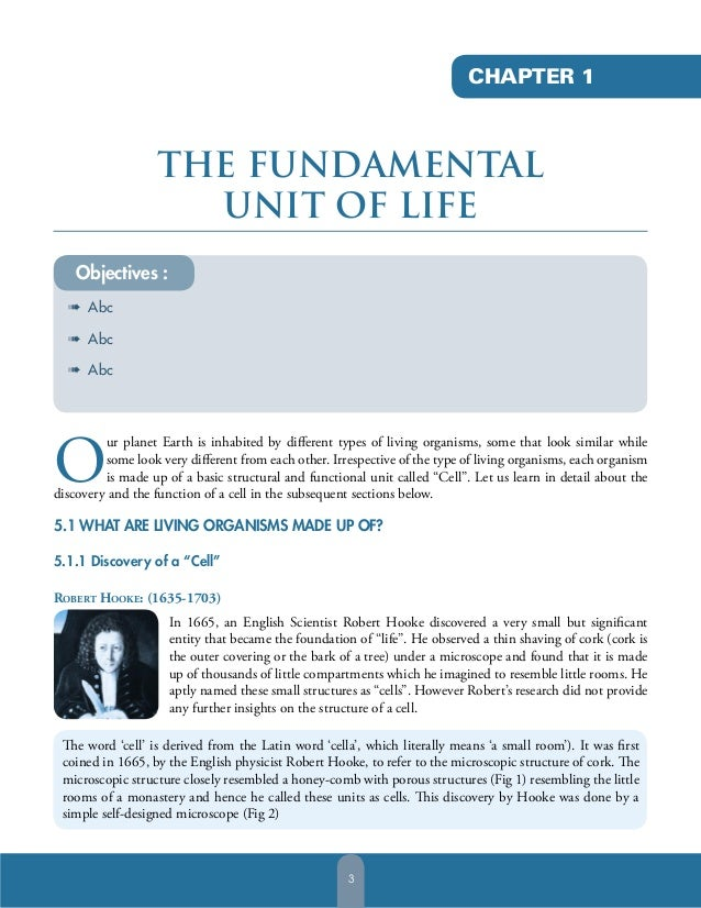 CHAPTER 1  THE FUNDAMENTAL UNIT OF LIFE Objectives : à Abc à Abc à Abc  O  ur planet Earth is inhabited by different types ...