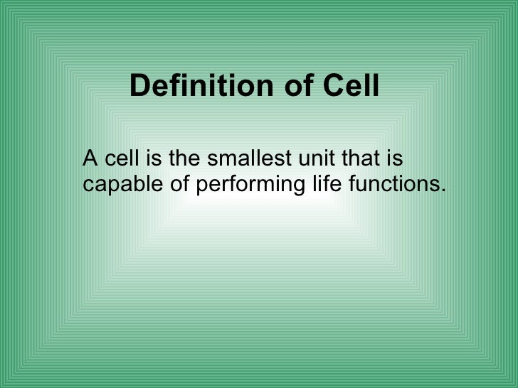 Cell Biology Definition