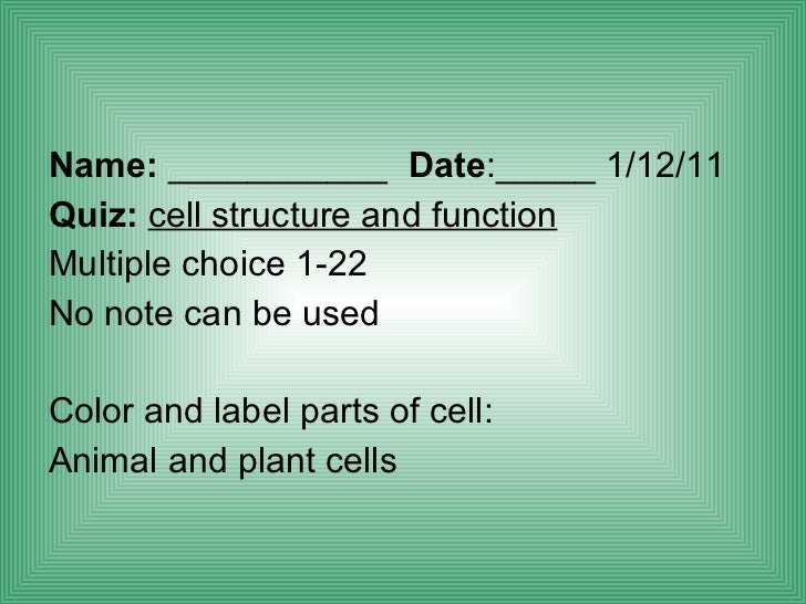 Biology Cell Structure Function
