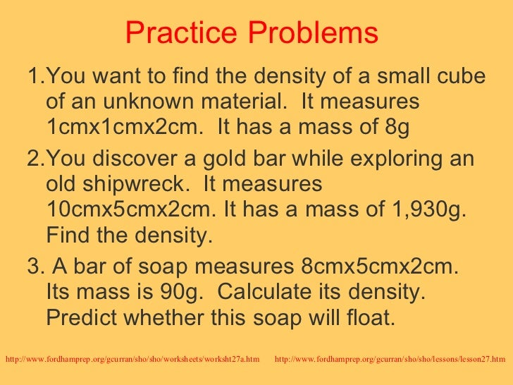 Biology density – Density Practice Problems Worksheet