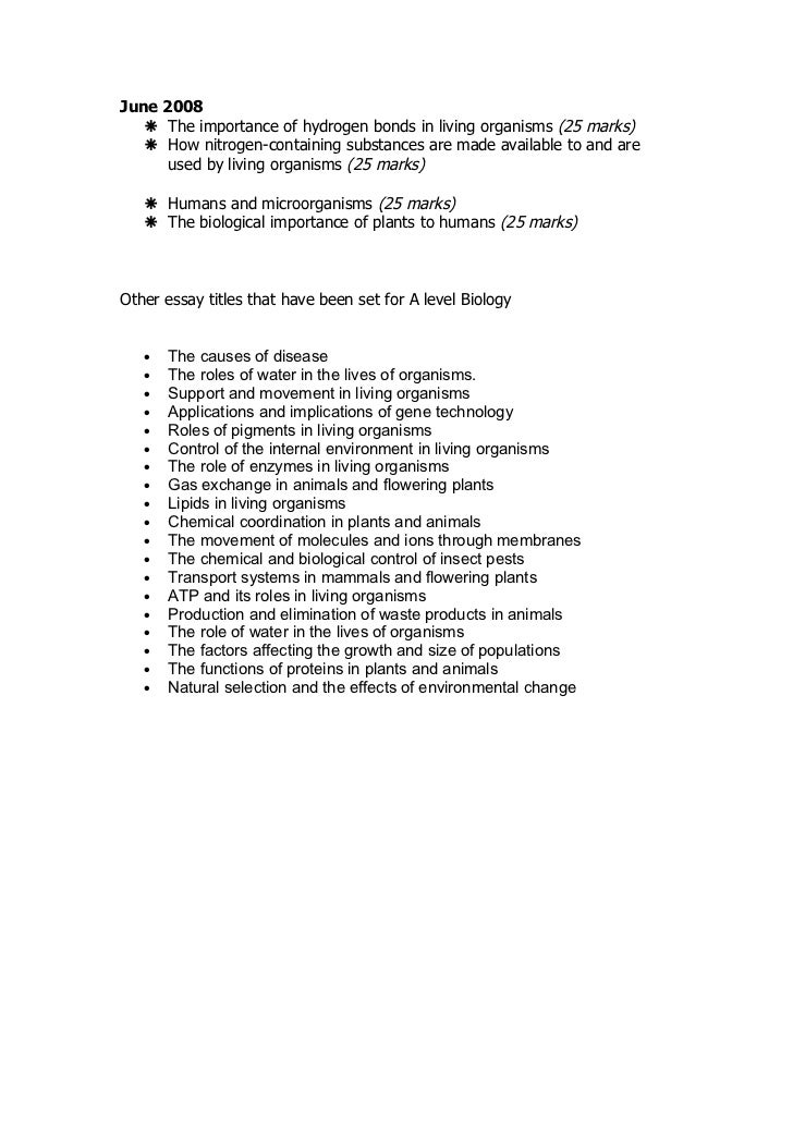biology essays aqa In the aqa a level biology and human biology synoptic exam papers you are required to write one essay which is worth 25 marks here are some guidelines for writing these essays.
