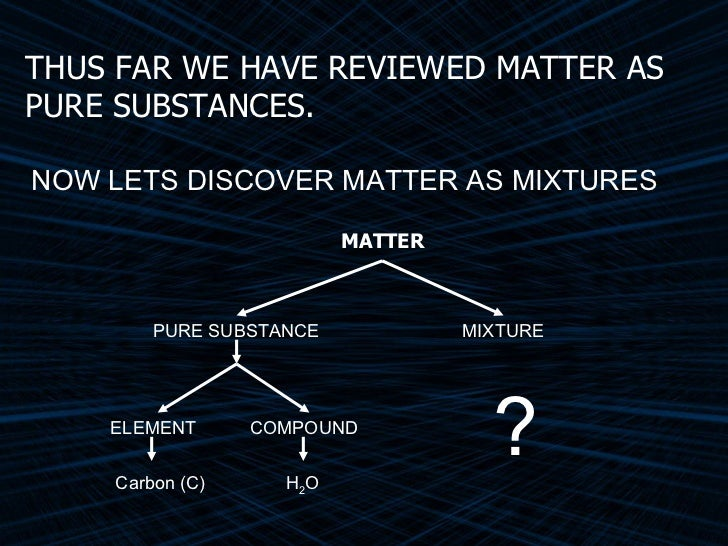 MATTER NOW LETS DISCOVER MATTER AS MIXTURES THUS FAR WE HAVE REVIEWED MATTER AS PURE SUBSTANCES. PURE SUBSTANCE ELEMENT CO...