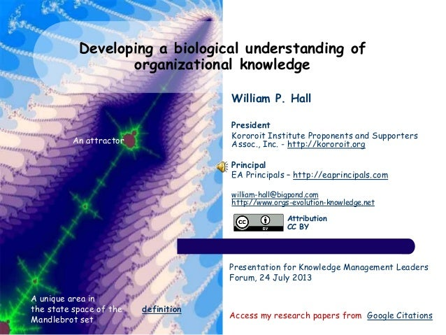 Developing a biological understanding of organizational knowledge Access my research papers from Google Citations A unique...