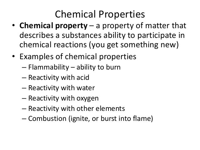 What Are Some Examples Of Chemical Properties Image Collections