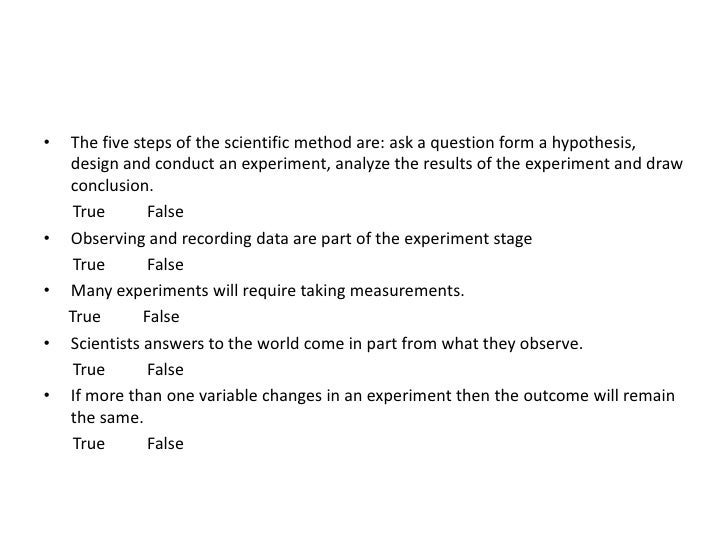 The five steps of the scientific method are: ask a question form a hypothesis, design and conduct an experiment, analyze t...