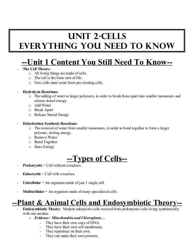 Biology unit 2 cells exam everything you need to know and