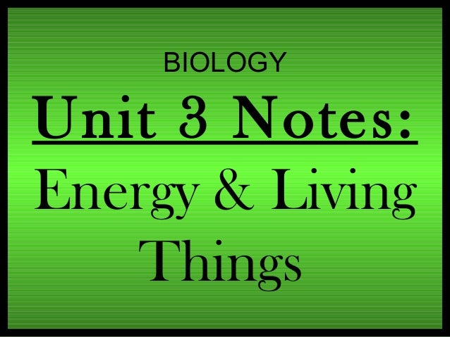 BIOLOGY  Unit 3 Notes: Energy & Living Things