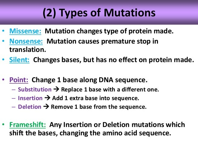 Putting DNA to Work - Inherited Disease - What Are Mutations?