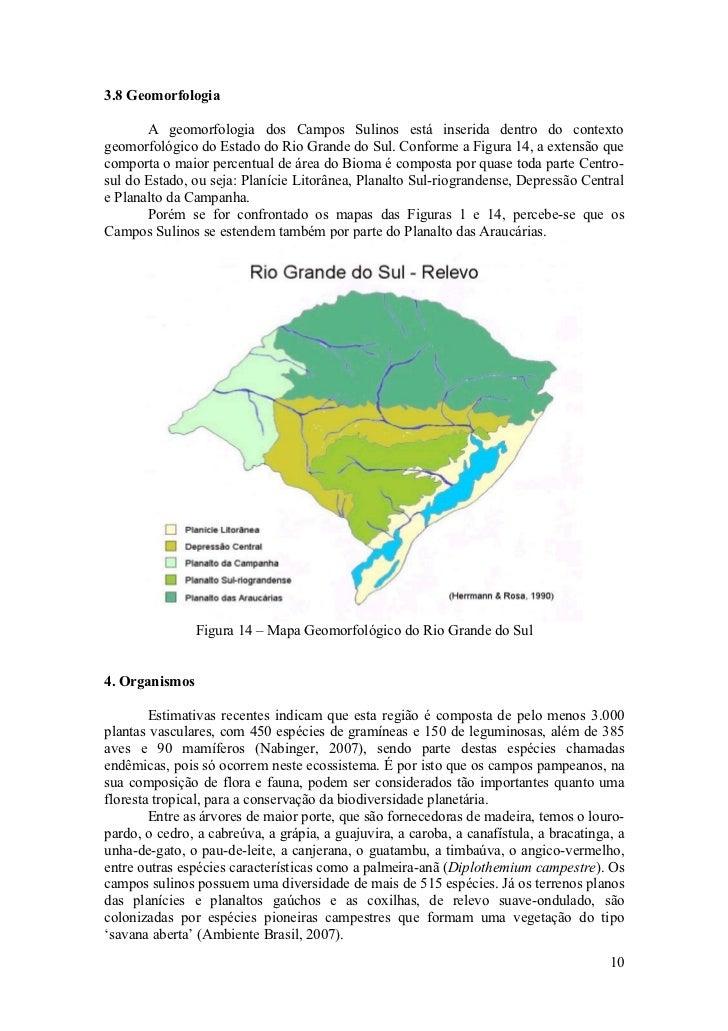 3.8 Geomorfologia         A geomorfologia dos Campos Sulinos está inserida dentro do contexto geomorfológico do Estado do ...