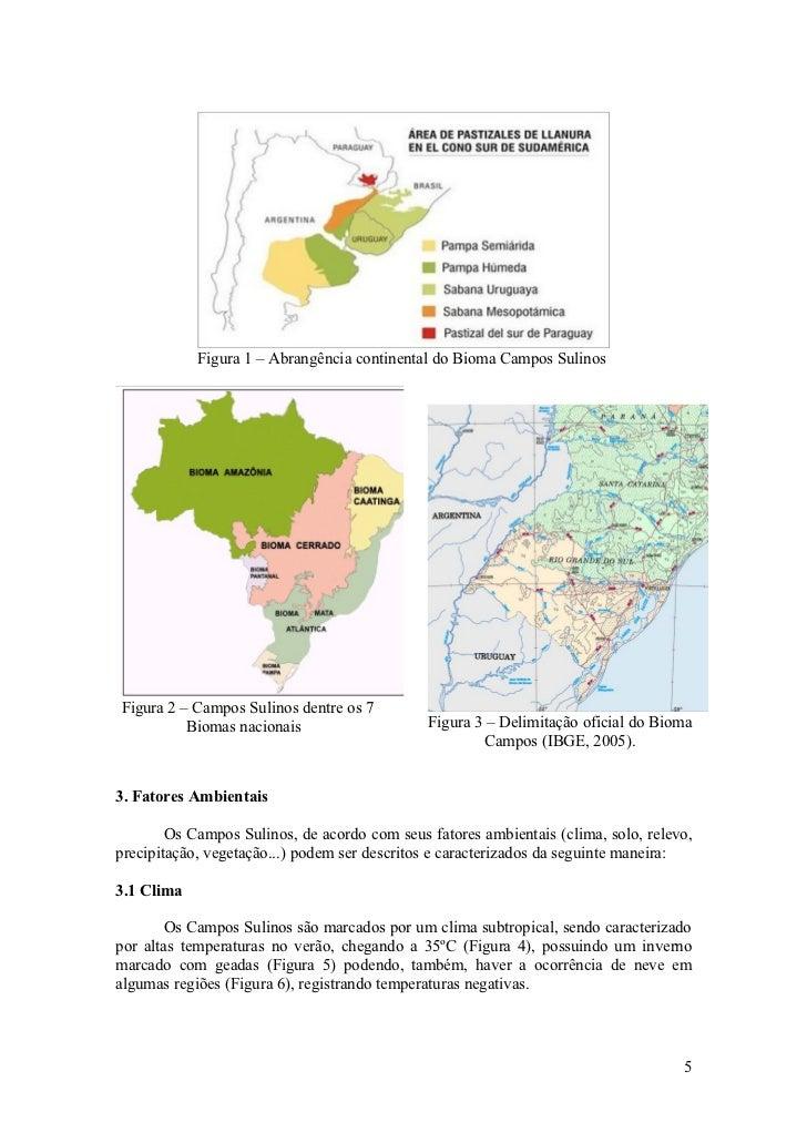 Figura 1 – Abrangência continental do Bioma Campos Sulinos     Figura 2 – Campos Sulinos dentre os 7           Biomas naci...