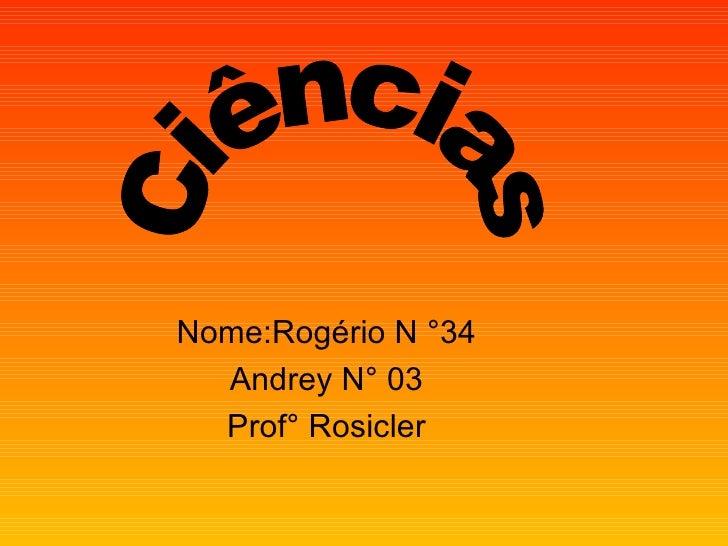 Nome:Rogério N °34 Andrey N° 03 Prof° Rosicler Ciências