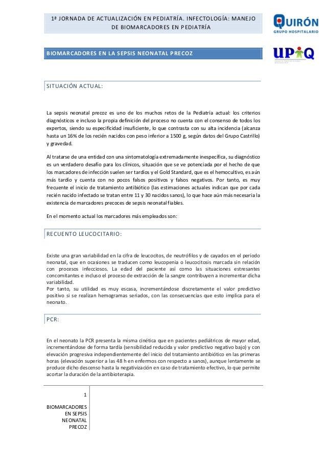 1ª JORNADA DE ACTUALIZACIÓN EN PEDIATRÍA. INFECTOLOGÍA: MANEJO DE BIOMARCADORES EN PEDIATRÍA  BIOMARCADORES EN LA SEPSIS N...