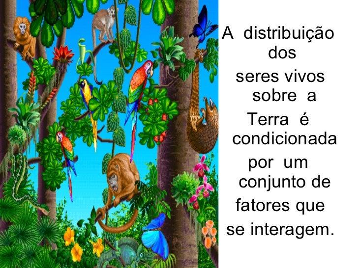A  distribuição  dos  seres vivos sobre  a  Terra  é  condicionada  por  um  conjunto de  fatores que se interagem.