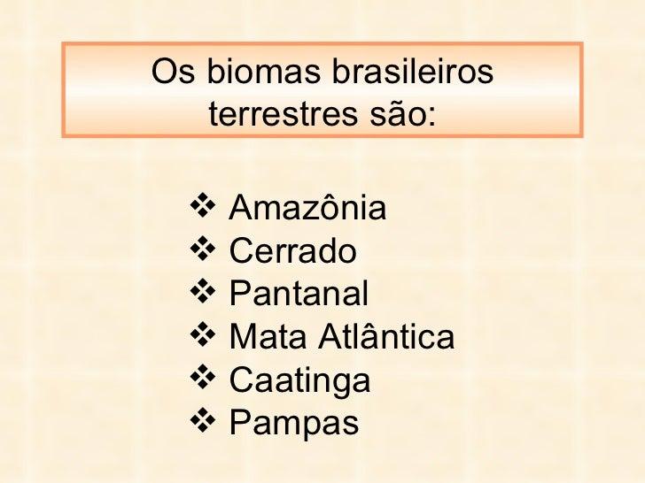 Os biomas brasileiros terrestres são: <ul><li>Amazônia </li></ul><ul><li>Cerrado </li></ul><ul><li>Pantanal </li></ul><ul>...