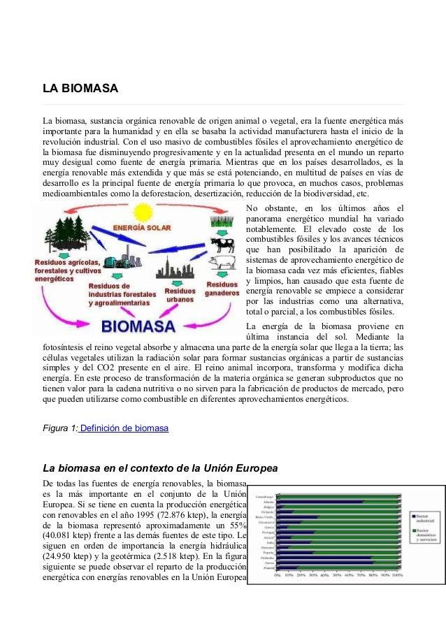 LA BIOMASA  La biomasa, sustancia orgánica renovable de origen animal o vegetal, era la fuente energética más  importante ...